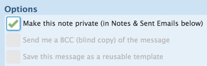 Mark transaction notes as private in Notes and Sent Emails